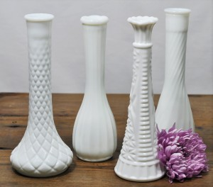 Tall Milk Glass Bud Vase
